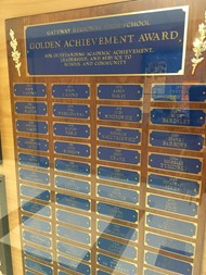 Display case with Golden Achievement winners