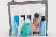 travel-sized toiletries collection underway