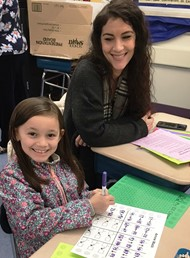 Mother, Daughter at Family Math Night