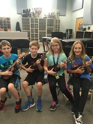 MS students enjoying new ukuleles