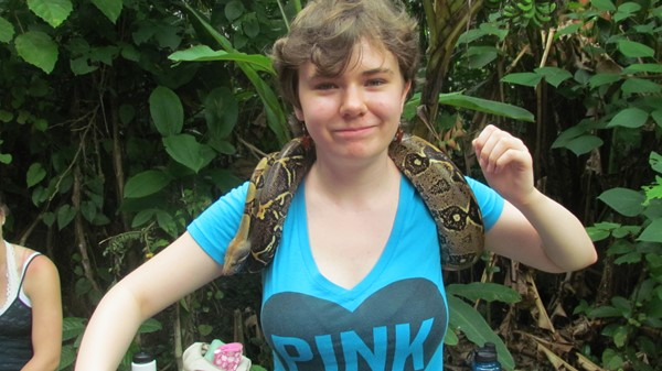 Rebecca Austin with a snake