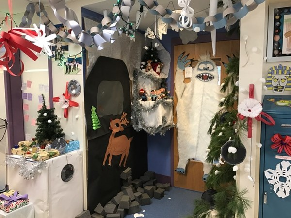 5th grade's Winter wonderland door- they took home the 1st prize