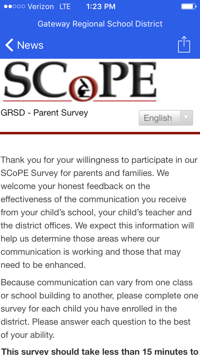 Screen Shot of Parent Survey