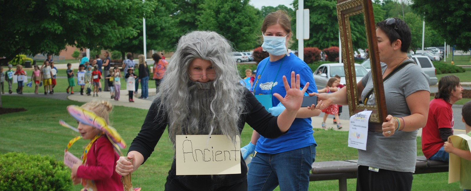 "Our Principal, Mrs. Coburn, showing off the word ""Ancient"" for our annual vocabulary parade."