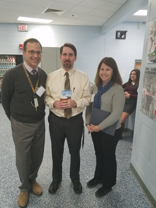 Left to right: Kurt Garivaltis (Pupil Services Director), Jason Finnie (MS/HS Principal) and Megan Coburn (Elementary Principal) visit guests at brunch.